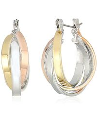 Kenneth Cole - Kenneth Cole New Trinity Rings Tri-tone Twisted Hoop Earrings - Lyst