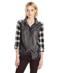 Kensie - Jeans Plaid Denim Mix Shirt - Lyst
