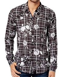 Guess - Long Sleeve Mosh Floral Plaid Shirt - Lyst