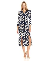 Laundry by Shelli Segal - Long Printed Shirt Dress With Slits - Lyst