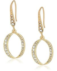 Laundry by Shelli Segal - Crossover Pave Hoop Earrings - Lyst