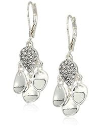 Kenneth Cole - Power Of The Flower Silver And Crystal Stone Shakey Drop Earrings - Lyst