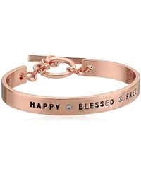 BCBGeneration - Bcbg Generation Rose Gold Crystal Happy Blessed Free Cuff Bracelet - Lyst