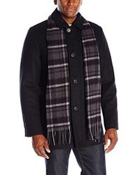 Dockers - Washable Wool Blend Walking Coat With Scarf - Lyst