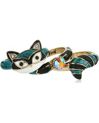 Betsey Johnson - Mini Critters Blue Racoon Stackable Ring, Size 7.5 - Lyst
