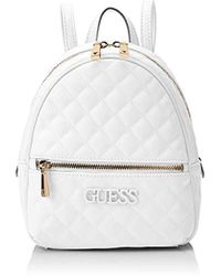 803e7f51ded1 Guess Wo Grained Silver Backpack With Pompom in Metallic - Lyst