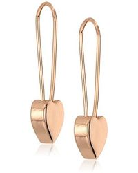 Betsey Johnson - Rose Gold Heart Safety Pin Earrings - Lyst