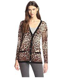 James & Erin - Cashmere Leopard Cardigan - Lyst