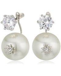 Betsey Johnson - S Blue By Cubic Zirconia Stone Studs With Pearl Ear Jacket Attached At Back Earrings - Lyst