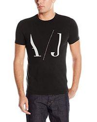 Armani Jeans - Crew Neck Logo Tee, Black, Large - Lyst