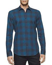 Calvin Klein - Slim Fit Long Sleeve Buffalo Check Button Down Shirt, - Lyst