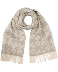 GANT - Winter Star Lambswool Scarf (light Grey Melange), One Size - Lyst