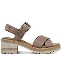 Timberland Violet Marsh Crossband Leather Platform Sandals