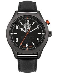 Superdry - 'yokohama Night Vision' Quartz Metal And Leather Casual Watch, Color:black (model: Syg187bb) - Lyst
