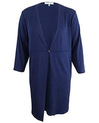 Kasper - Plus Size Ribbed Long Duster With Hardware Detail (3) - Lyst