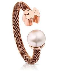 546cb4c35102 Tous - Anillo Icon Mesh de acero IP rosa y plata vermeil rosa con perla de