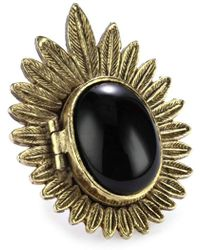 House of Harlow 1960 - Gold-plated Feather Locket Ring, Size 5.5 - Lyst