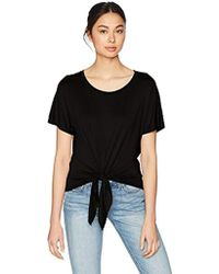 Three Dots - Refined Jersey Short Loose Tie Front Tee - Lyst