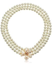 Kenneth Jay Lane - Pearl Flower Clasp Necklace - Lyst