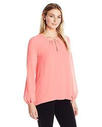 Lyst Ellen Tracy Collared Hi Lo Blouse In Blue