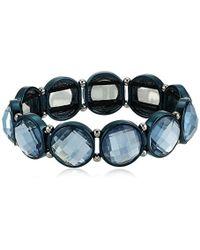 Anne Klein - Hematite Stone Stretch Bracelet - Lyst