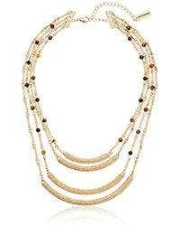 """Steve Madden - Gold 4 Row Textured Agate Crescent Necklace, 15"""" + 3"""" Extender - Lyst"""