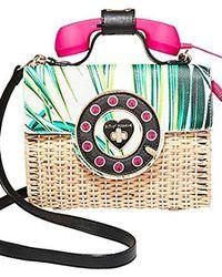 Betsey Johnson - Wicker Palm Print Phone Bag - Lyst
