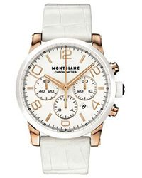 Montblanc - Timewalker Chronograph Automatic White Leather Strap Swiss Rose Gold Watch 104669 - Lyst