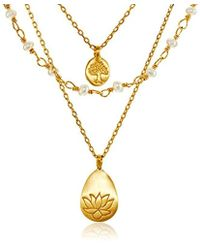 Satya Jewelry - Freshwater Pearl Lotus And Tree Of Life Triple-chain Pendant Necklace (18-inch) - Lyst