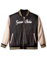Sean John - Big And Tall Satin Bomber Jacket, Pm Black, 4xl - Lyst
