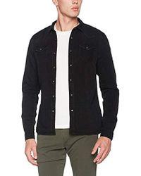 Scotch & Soda - Ams Blauw Classic Western Shirt in Regular Fit Maglia a Maniche Lunghe Uomo, Nero (Black 90) XX-Large - Lyst