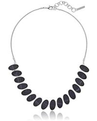 """Nine West - Silver-tone And Jet 16"""" Frontal Necklace, Size 0 - Lyst"""