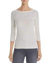Three Dots - Tahoe Stripe 3/4 Slv British Tight Long Shirt - Lyst