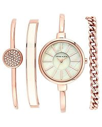 Anne Klein - Ak/1470rgst Rose Gold-tone Bangle Watch And Bracelet Set - Lyst