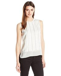Vince - Washed Satin Double Layer Embroidered Shell - Lyst