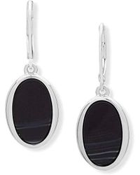 Nine West - Silver-tone And Jet Drop Earrings, Size 0 - Lyst
