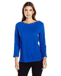 Rafaella - Petite Size Cotton Tee With Heatset Trim - Lyst