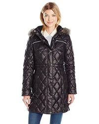 Guess - Polyfill Cinched Waist Quilted Puffer Coat Faux Fur Hood - Lyst