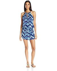 Kenneth Cole Reaction - Sound Wave High Neck Sun Dress Cover Up With Removable Tie - Lyst
