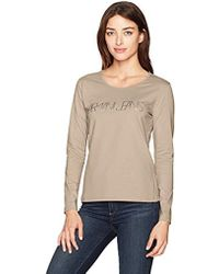 Armani Jeans - Long Beige Sleeve Graphic T-shirt - Lyst