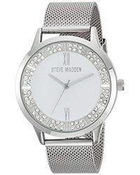 Steve Madden - Japanese-quartz Watch With Alloy Strap, Silver, 19 (model: Smw089) - Lyst