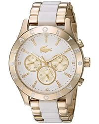 Lacoste - 'charlotte' Quartz Stainless Steel Casual Watch, Color Gold-toned (model: 2000963) - Lyst