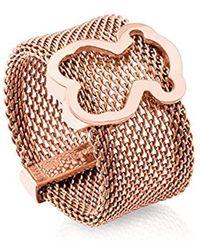 Tous - Anillo Mesh de acero IP rosado con motifo de plata vermeil rosa - Lyst