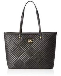 Miu Miu Denim Logo Shopping Bag Nero bianco in Gray - Lyst a15a4d44512b4