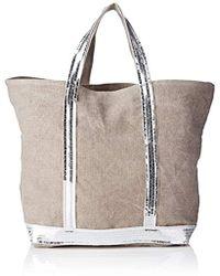 Vanessa Bruno - Cabas Medium Lin Et Paillettes Bag, Grey (calcaire),  16x30x42 a1392368511