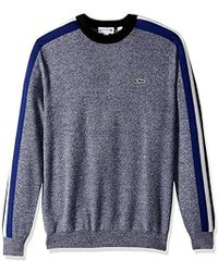 Lacoste - Mouline Jersey And Jacquard Wool Blend Sweater With Stripes - Lyst