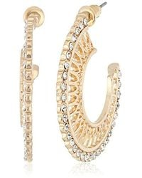 Steve Madden - Rhinestone Cutout Hoop Earrings - Lyst