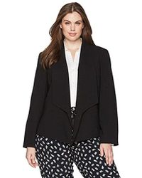 Nine West - Plus Size Solid Crepe Jacket With Shawl Collar - Lyst