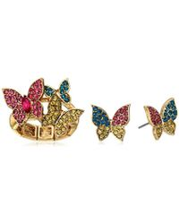 Betsey Johnson - Pave Butterfly Stretch Ring And Stud Earrings Jewelry Set - Lyst