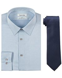 CALVIN KLEIN 205W39NYC - Blue Slim Fit Herringbone Dress Shirt And Silver Spun Tie Combo - Lyst